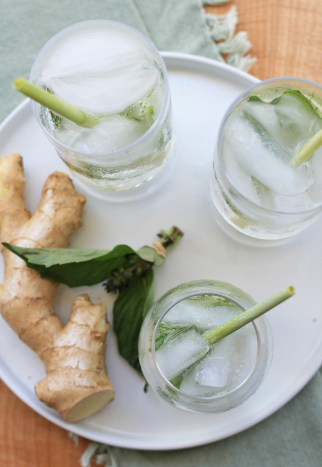 Ginger, Lemongrass and Thai Basil Sparkler
