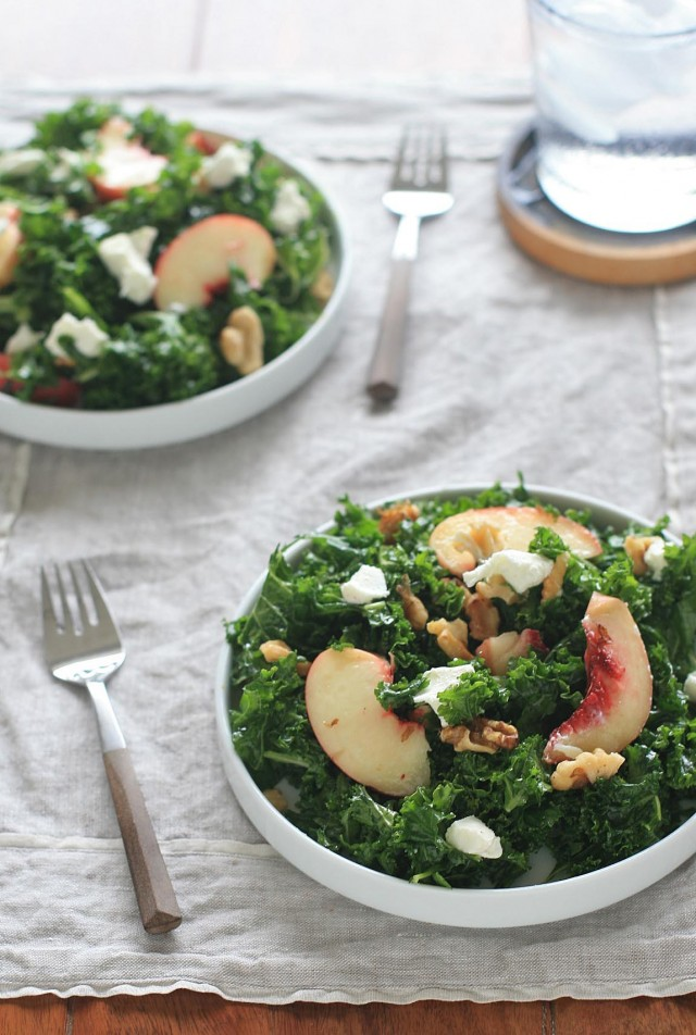 Massaged Kale Salad with Peaches