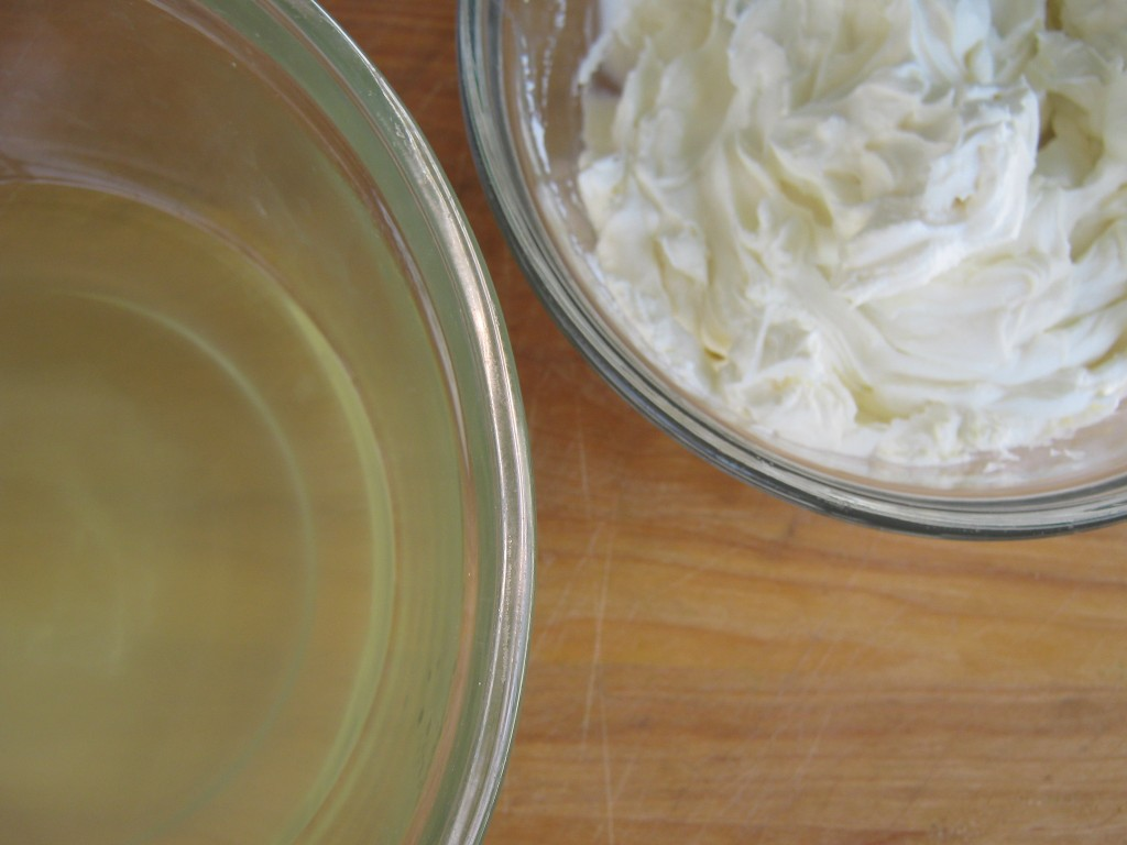 Whey and cream cheese, separated