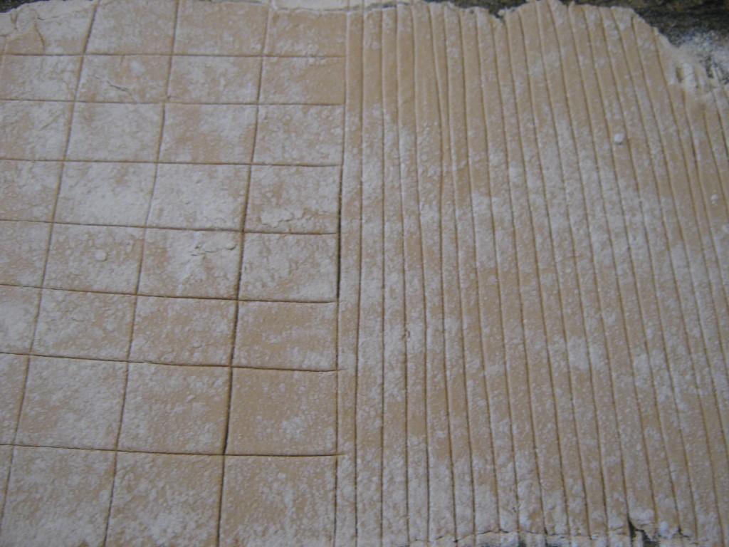 pasta dough, cut into squares and fettucine