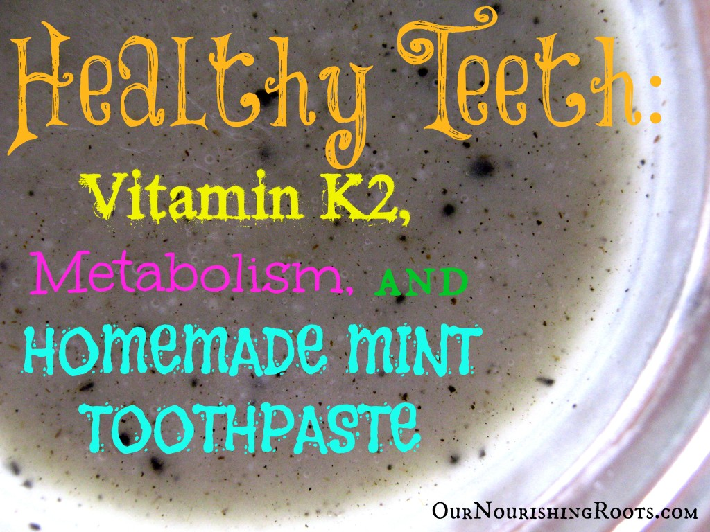 Healthy Teeth: Vitamin K2, Metabolism, and Homemade Mint Toothpaste | OUR NOURISHING ROOTS #metabolism #DIY #vitaminK2 #WAPF #realfood